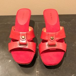 NEW Nine West Red Leather Cork Sandal Wedge - 7.5